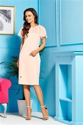 Elegancka sukienka z szyfonowymi rękawami i dekoltem łosoś