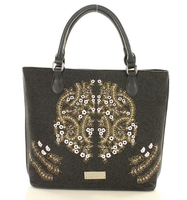 10d546292386a ... MONNARI Niezwykła torba shopper bag z haftowanym wzorem szary ...