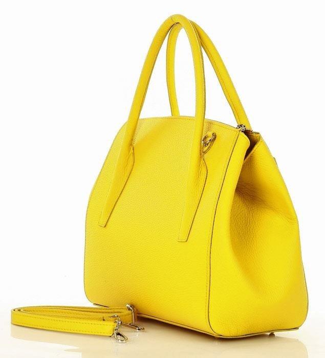 373b38f72e985 ... MARCO MAZZINI Luksusowa torebka shopper skóra naturalna - żółta ...