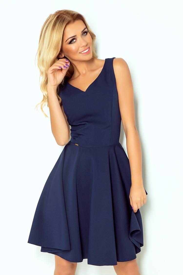 919c1c96ef numoco Sukienka z koła - dekolt w kształcie serca - CZARNY - Merg.pl