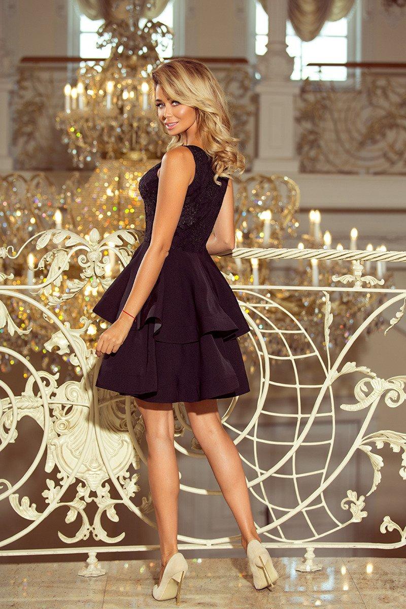 995ac3fec8 ... EXCELENT MARGO podwójnie rozkloszowana sukienka z haftowaną górą -  CZARNA ...