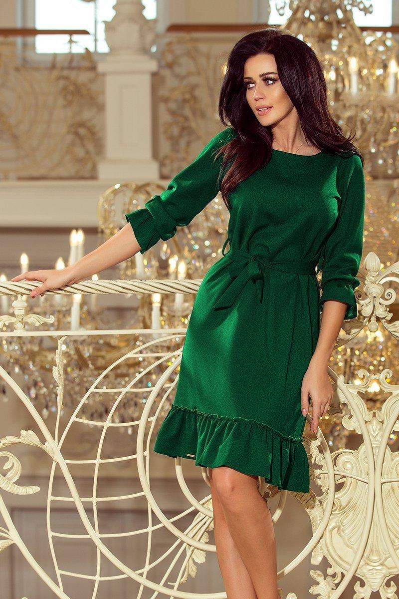b30b1667b1 numoco Elsie Sukienka z falbankami i paskiem - ZIELEŃ BUTELKOWA ...