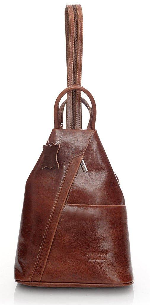 Modny plecak damski brąz koniak MORENA CLASSIC