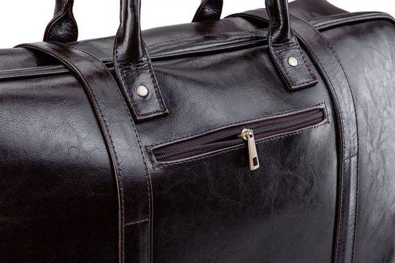 Brązowa Skórzana męska torba podróżna, weekend Solier MARSHALL