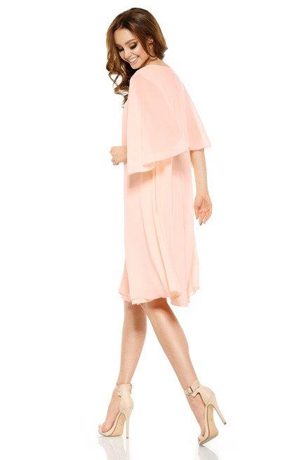 Szyfonowa sukienka z narzutką łosoś DIANA