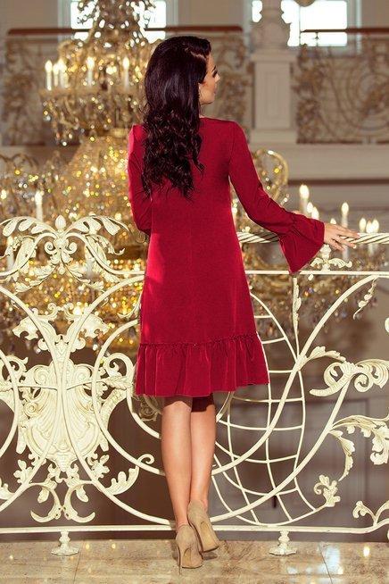 WIKTORIA  Sukienka z falbankami - BORDOWA