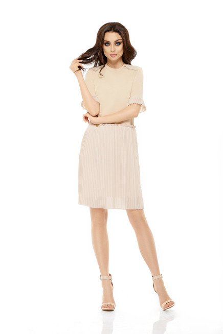 Zjawiskowa sukienka z plisowaniami beżowy KAMILA