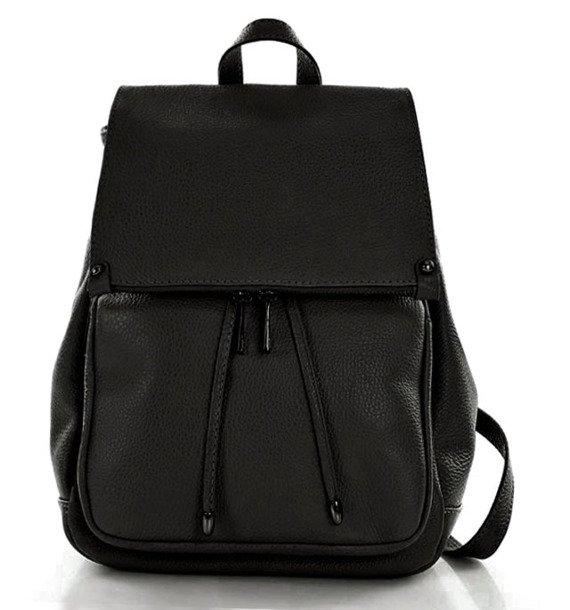 Skórzany czarny plecak damski AMBER