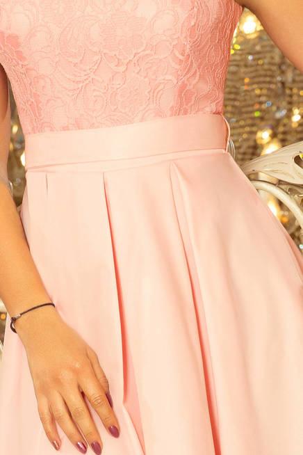 FARNA sukienka z okrągłym dekoltem i koronką - PASTELOWY RÓŻ