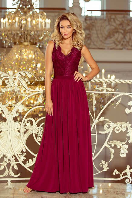 JULIA długa suknia bez rękawków z koronkowym dekoltem - BORDOWA