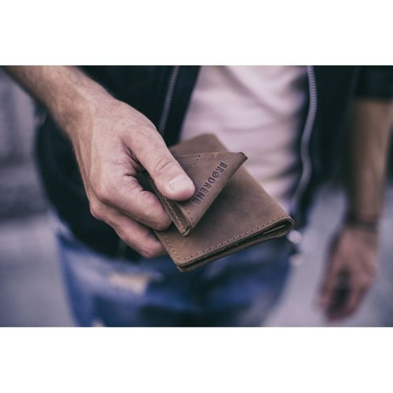 Skórzany portfel SLIM wallet BRODRENE czerwony