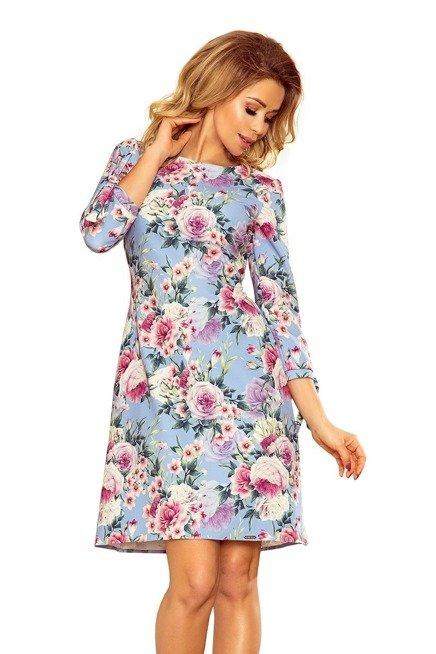 CARMEN Sukienka z kokardkami - BŁĘKIT + KWIATY