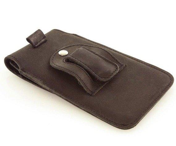 Skórzana kabura futerał na telefon  FLAP szluwka + klips ciemny brąz