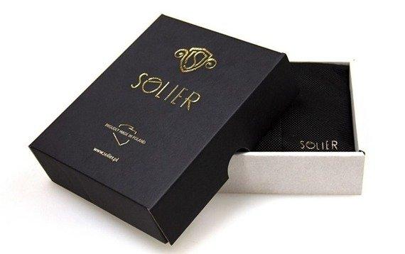 Cienki skórzany męski portfel z bilonówką SOLIER  SLIM CZARNY