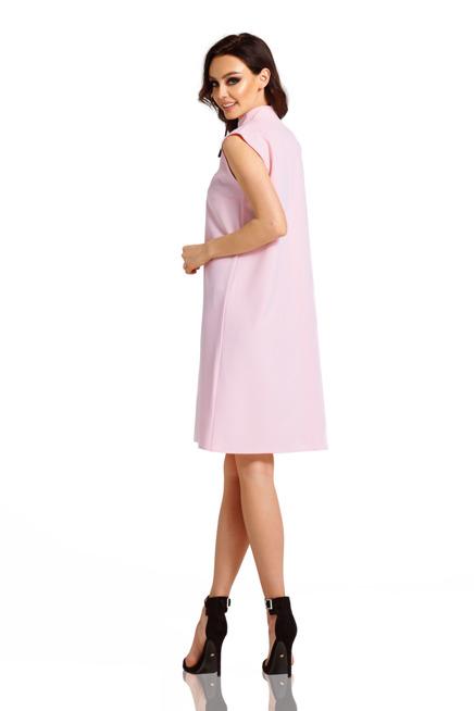 Sukienka z kokardą przy szyi pudrowy róż