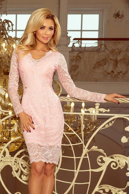 Dakota Sukienka koronkowa z długim rękawkiem i DEKOLTEM - PASTELOWY RÓŻ