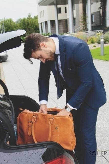Skórzana męska torba podróżna, weekend Solier MARSHALL