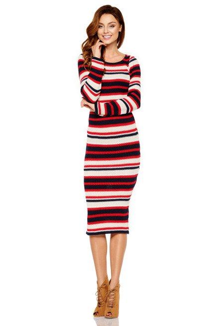 Kobieca ołówkowa sweterkowa sukienka granatowy-czerowny-beżowy