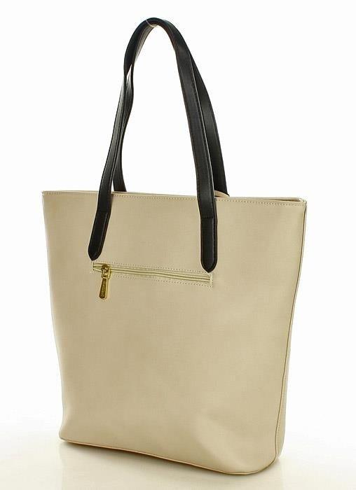 MONNARI Letni shopper bag z kwiecistą kieszenią beżowy
