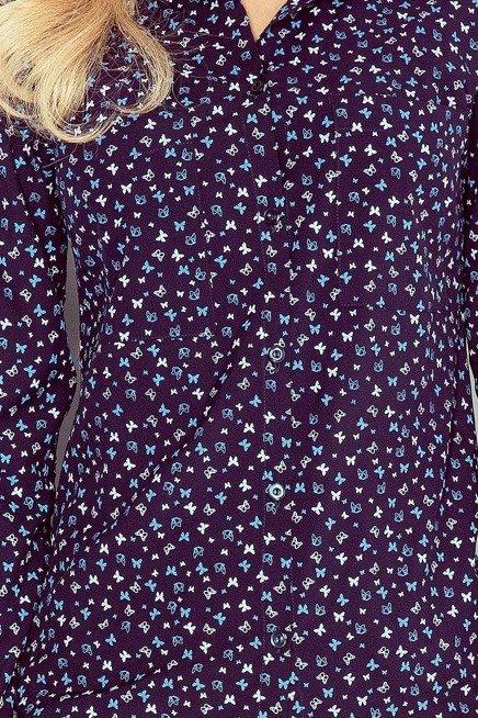 Koszula z KIESZONKAMI - GRANAT + niebieskie MOTYLKI