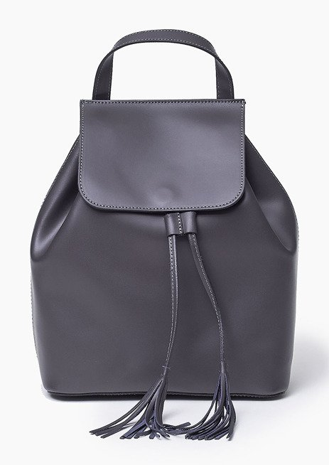 Szara Skórzana włoska torba plecak SUSANA