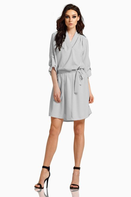Koszulowa sukienka z kopertowym dekoltem z paskiem jasnoszary