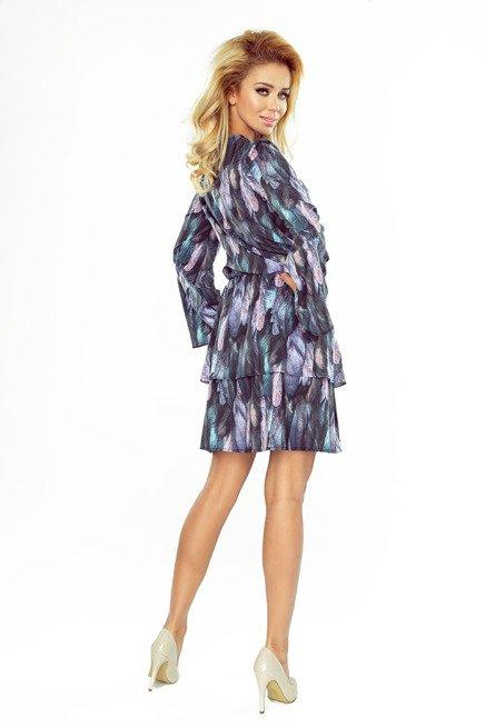 Adrianna Sukienka z dwoma falbanami i rozkloszowanym rękawkiem - PIÓRA