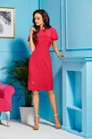 Elegancka sukienka z szyfonowymi rękawami i dekoltem malina