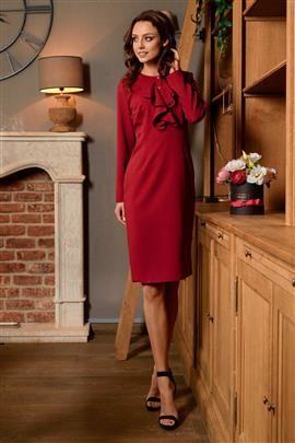 ALWAYS FREE Sukienka biznesowa z żabotem bordo