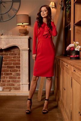 ALWAYS FREE Sukienka biznesowa z żabotem czerwony