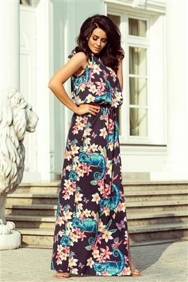 DIANA Sukienka MAXI wiązana na szyi z rozcięciem - KAMELEONY z kwiatami