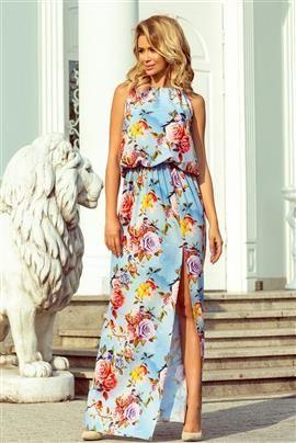 DIANA Sukienka MAXI wiązana na szyi z rozcięciem - KWIATY na błękitnym tle