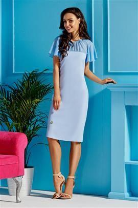 Elegancka sukienka z szyfonowymi rękawami i dekoltem błękitny
