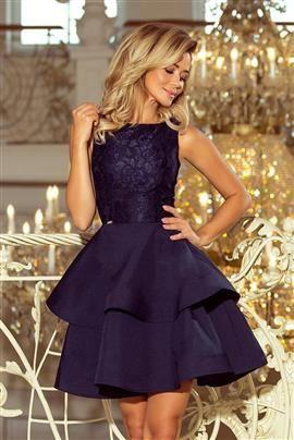JENNIFER podwójnie rozkloszowana sukienka z koronkową górą - GRANATOWA