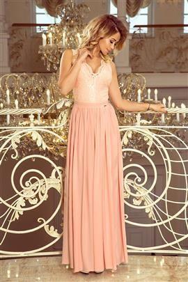 JULIA długa suknia bez rękawków z koronkowym dekoltem - PUDROWY RÓŻ