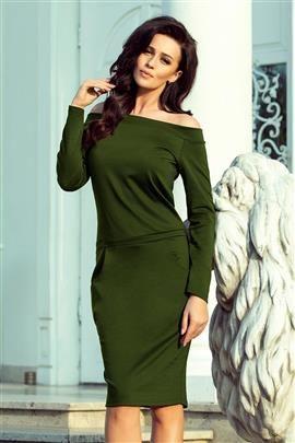 KLAUDIA Sukienka z odkrytymi ramionami - KHAKI