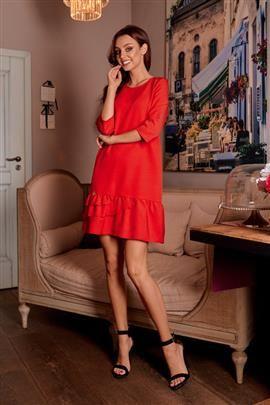 Klasyczna sukienka z falbanką czerwony LILIAN