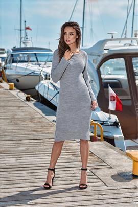 Kobieca ołówkowa sweterkowa sukienka jasnoszary