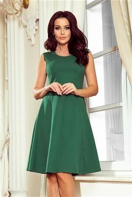 MEGAN trapezowa sukienka - ZIELEŃ BUTELKOWA