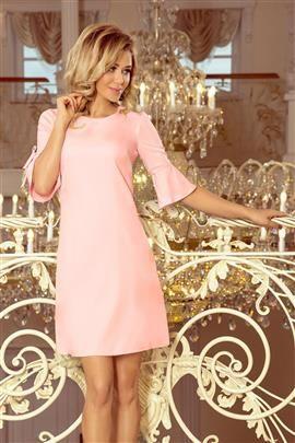 MIA Trapezowa sukienka z rozkloszowanymi rękawkami - PASTELOWY RÓŻ