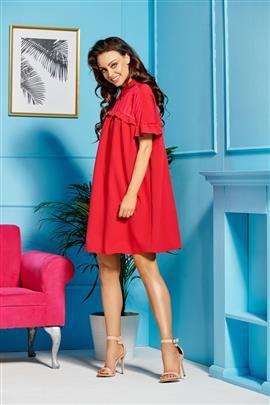 Oversizowa elegancka sukienka z kołnierzykiem  malina