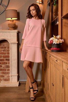 Prosta sukienka mini z plisowaniami pudrowy róż SUMMER