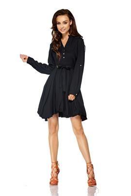 Rozkloszowana sukienka z długim rękawem wiązana w pasie czarny