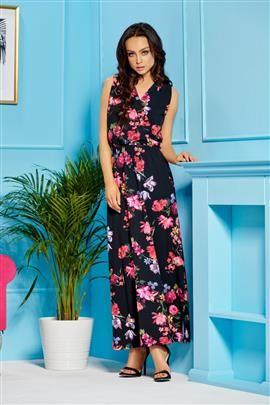 Sukienka maxi z kopertowym dekoltem czarny