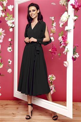 Sukienka z długimi rozciętymi rękawami czarny