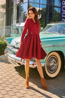 Sukienka z koła z dekoltem V bordo