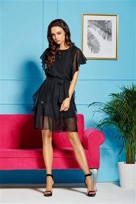 Sukienka z szyfonem i falbankami czarny