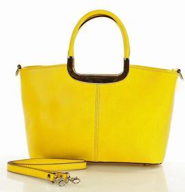 Torebka kuferek skórzany Włoski MAGNOLIA żółta
