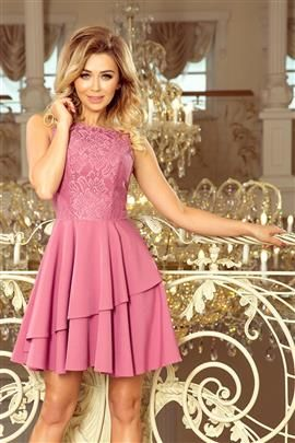 VINCEZA - Sukienka z falbanką i koronką - LILA