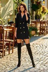 Garniturowa sukienka mini czarny